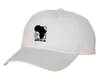 Dad Hats, Embroidered, AFRICA graphic, 100% Chino Twill Cotton, adjustable strap, black, white, beige-Unisex