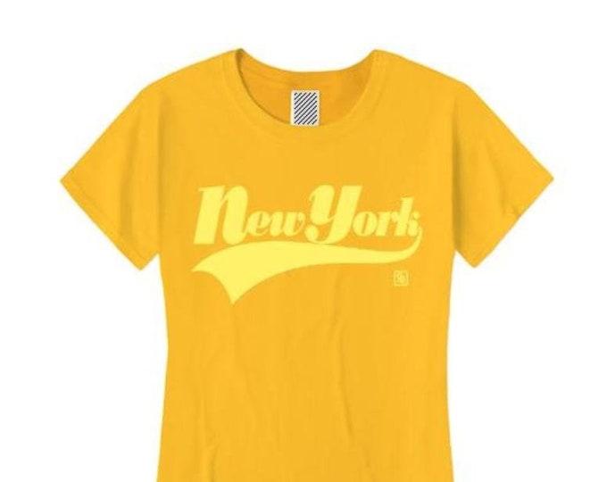 Womens urban style tshirts, 'New York' varsity style weathered graphic (sizes Sm-4X)