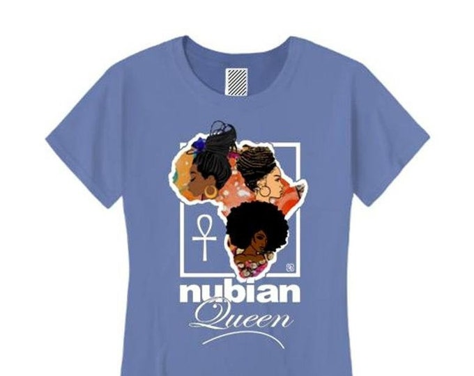 Afrocentric, Women's 'Nubian Queen' African art style graphic (sizes Sm-4X)