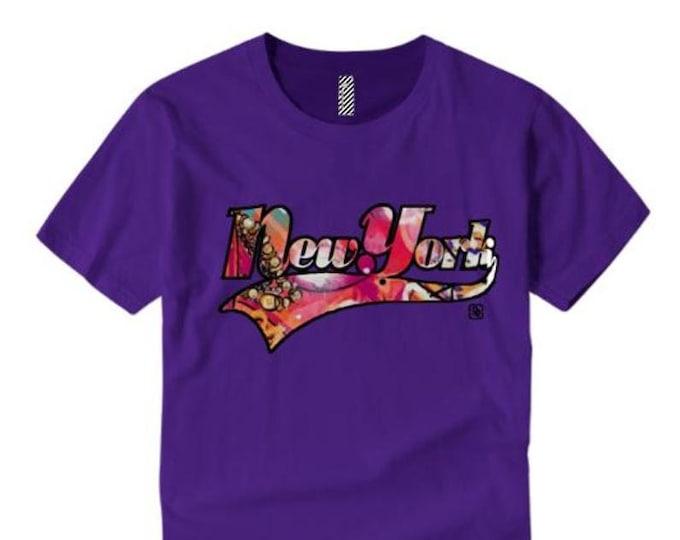 Womens graffiti/urban tshirts, 'New York' varsity style weathered graphic (sizes Sm-4X)