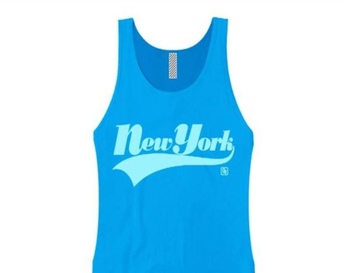 Womens urban style tank tops, 'New York' varsity style weathered graphic (sizes Sm-3X)