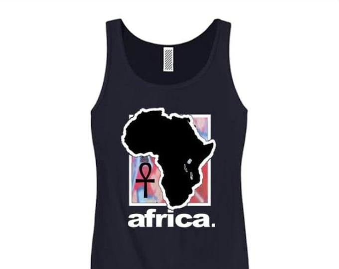 Womens Afrocentric fashion tank tops 'Africa Nouveau' modern, urban style graphic collection (sizes Sm-3X)