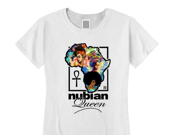 Afrocentric, Women's 'Nubian Queen' African art style graphic t-shirts (sizes Sm-4X)