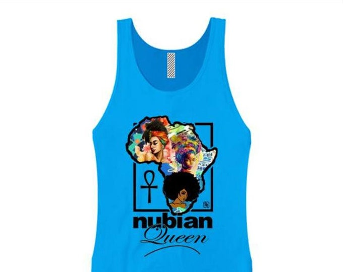 Afrocentric, Women's tank tops 'Nubian Queen' African art style graphic (sizes Sm-3X)