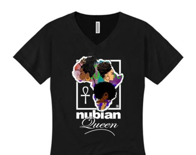 Afrocentric, Women's v-neck 'Nubian Queen' African art style graphic t-shirt (sizes Sm-4X)