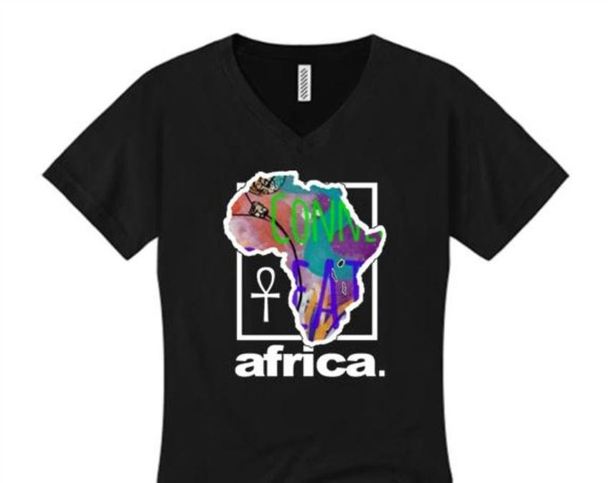 Womens Afrocentric fashion v-neck tees 'Africa Nouveau' modern, urban style graphic collection (sizes Sm-4XL)