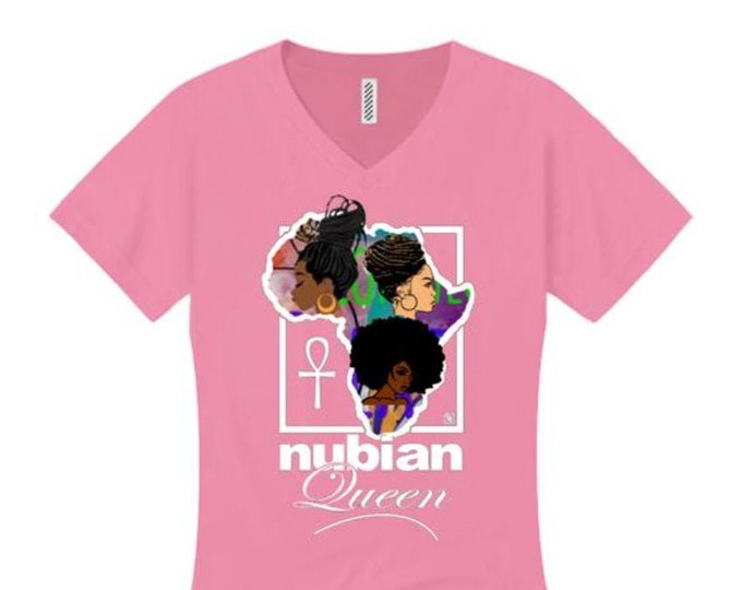 Afrocentric, Women's v-neck 'Nubian Queen' African art style graphic t-shirts (sizes Sm-4X)