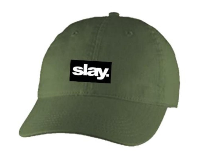 Dad Hats, Embroidered, 'SLAY.' (slayer) 100% Chino Twill Cotton, adjustable strap, black, white, beige or blue-Unisex
