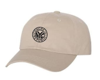 Classic Dad Hats, Embroidered-iconic NYC Subway Token graphic, 100% Chino Twill Cotton, adjustable strap, army green, natural-Unisex