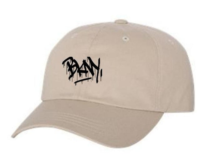Dad Hats, Embroidered, graffiti tag 'BKNY' (Brooklyn, New York) graphic, 100% Chino Twill Cotton, adjustable strap, black or blue