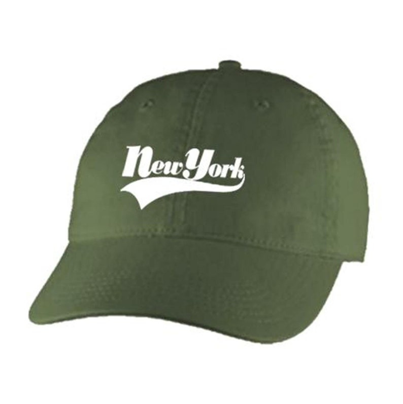100/% Chino Twill Cotton beige Embroidered varsity style /'New York/' graphic Dad Hats adjustable strap army green blue