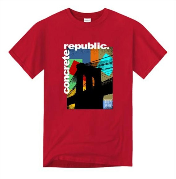 Mens Brooklyn Bridge graphic crew neck t-shirt /'Pop Life/' mural style graphic sizes Sm-4XL