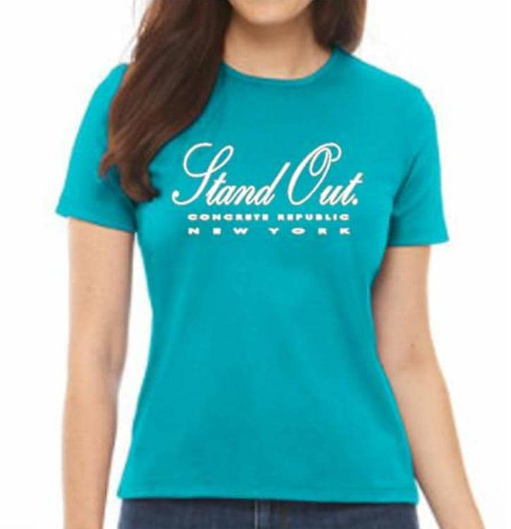 143741d06 Womens Urban crew neck Tee-'Stand Out'-Graphic T-Shirt-Modern, stylish,  turquoise tee, hot pink tees, (size Sm-4X)