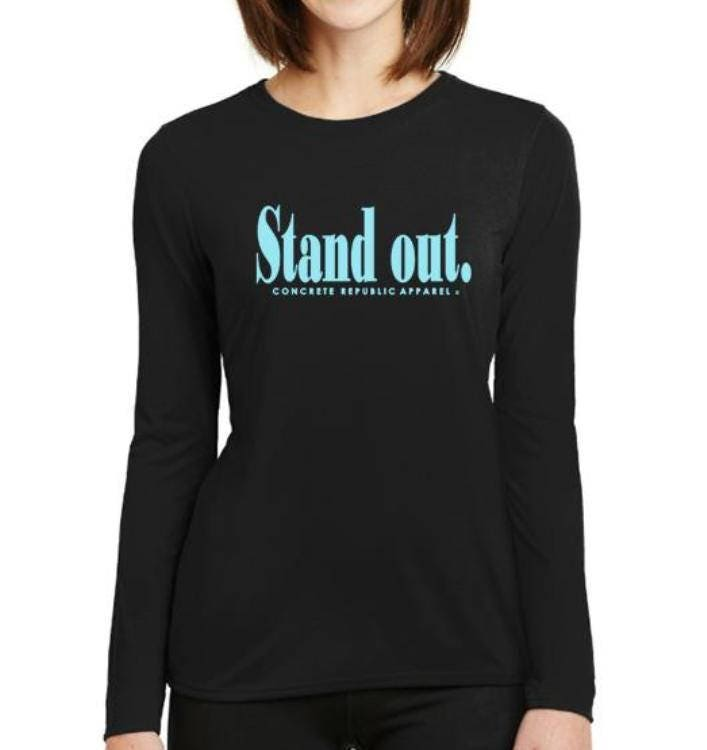 f3477f099 Women's Urban Long Sleeve Tees-'Stand Out'-Graphic T-Shirt-Modern, stylish,  black tees (size Sm-4X)