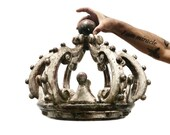 Antique Italian Crown, An Exquisite And Extremely Rare Hand Carved And Silvered Large Crown, Bed Corona Or Canopy, 18th Century