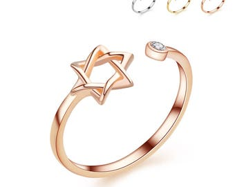 Pentagram Silver Ring,Adjustable, middle finger ring, graduation, Star ring, Gift for her, Ring for women, Mother's day gift,Minimalist ring