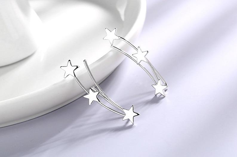 dainty ear climber,Silver Ear Climber Bridal Ear Climbers Star ear Crawlersear climber,Celestial ear climber Ear crawler earrings