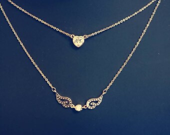 heart and wings gold-plated double chain necklace