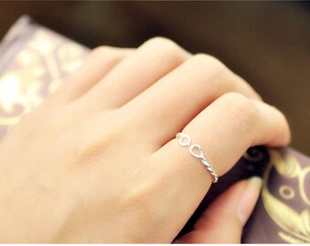 twist silver-plated ring, simple, graduation