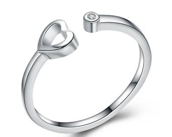 HEART AND ZIRCON ring, sterling silver, graduation gift, confirmation gift