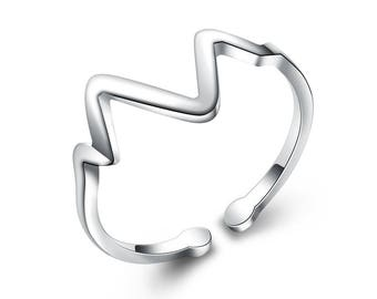 Electrocardiogram ring, Heart beat ring, sterling silver ring, birthday gift