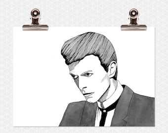 Illustrated portrait of David Bowie in black and white - A4 print