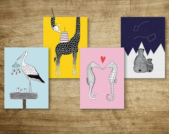Set of 4 Party Animal postcards/greeting cards for several occasions, including Stork, Giraffe, Seahorses and Bears