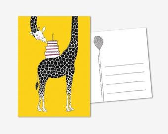 Party Animal Giraffe with cake greeting card / postcard, congratulations, happy birthday