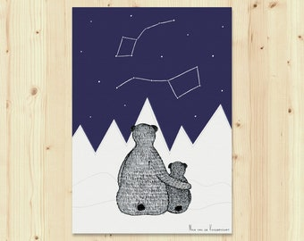 A5 Party Animal Bears, birth announcement congratulations greeting card, Little Bear, Great Bear, Watching the stars, constellation