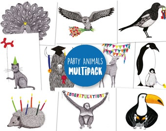 MULTIPACK - Set of 10 Party Animal postcards / greeting cards