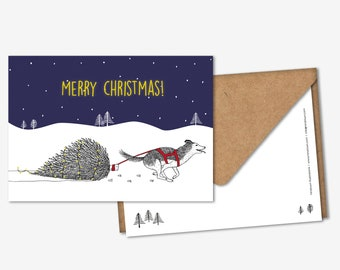 SET of 5 Christmas cards with matching envelopes - Running husky with Christmas tree, Merry Christmas postcards, pack