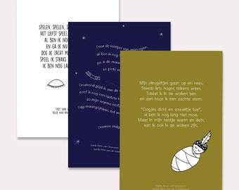 SET of 3 A5 Poem Cards i.c.w. Mam-An (illustrated cards with poems in Dutch, especially for during pregnancy or as a maternity gift)