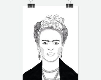 Illustrated portrait of Frida Kahlo in black and white - A4 print