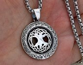 Celtic Tree of Life solid 925 sterling silver pendant necklace chain men charm amulet women
