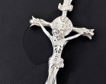 Crucifix Jesus Cross pendant 925 sterling silver men catholic big heavy inri