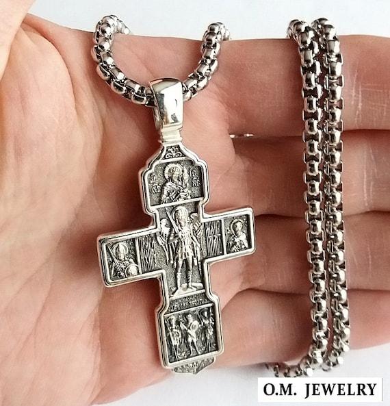 STERLL Uomo Catena Argento 925 Ciondolo Croce in Sterling 60cm Confezione Regalo Regali per i Partner
