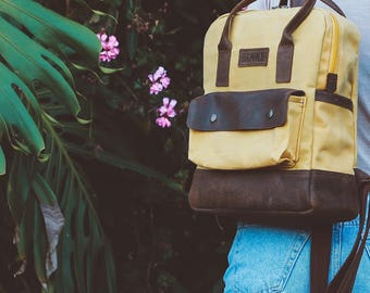 Canvas Backpack / Waxed Canvas Bag / Backpack / Rucksack / Canvas Rucksack / Backpack Women / Mini Backpack / Canvas Bag / Laptop Backpack.