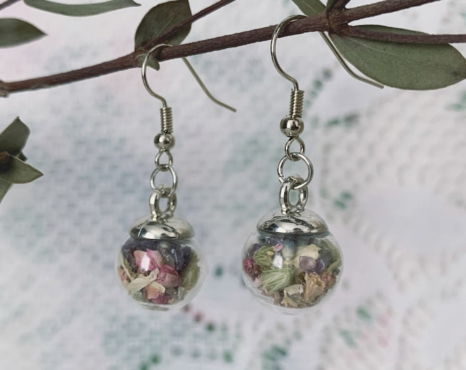 Botanical & Amethyst Globe Earrings