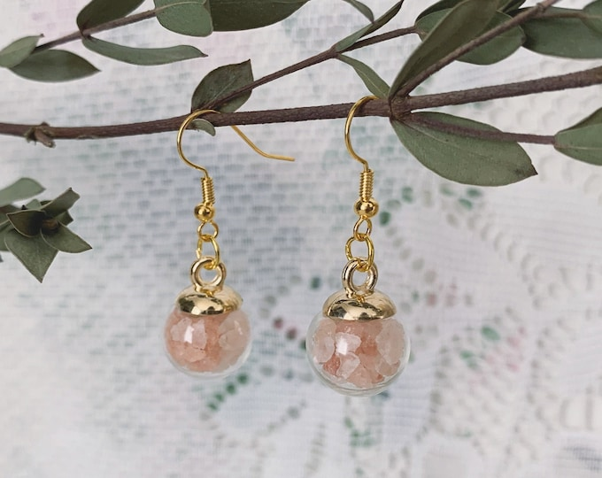 Botanical Pink Himalayan Salt Globe Earrings