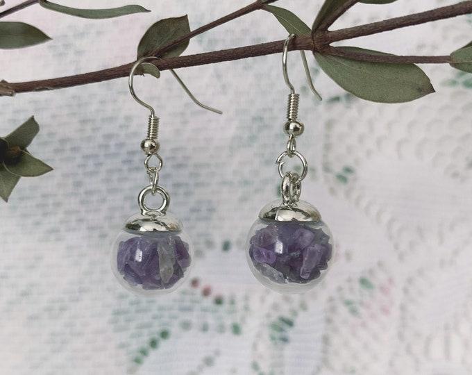 Amethyst Globe Earrings