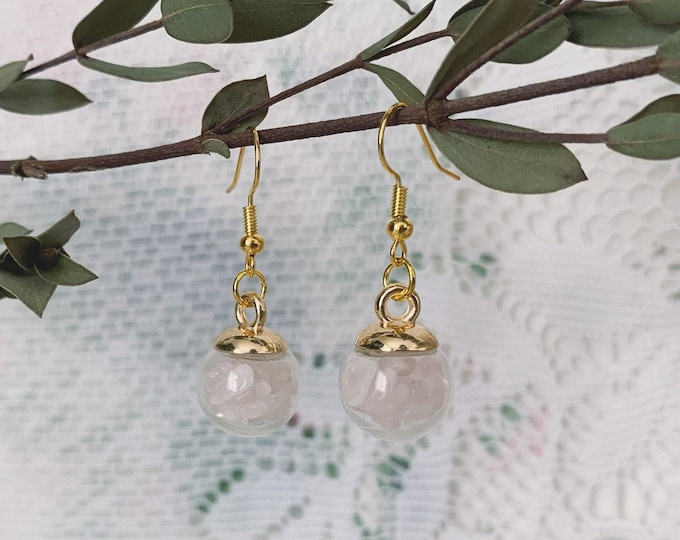 Rose Quartz Globe Earrings