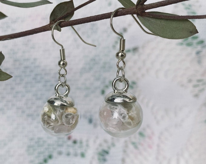 Botanical, Rose Quartz & Snake skin Globe Earrings