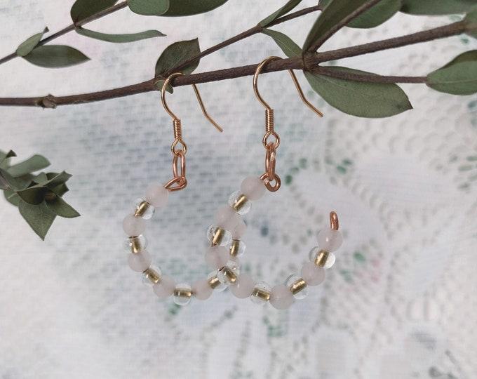 Rose Quartz & Czech Earrings