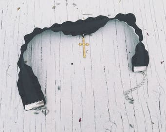 Latin Cross choker / Black Lace Necklace [ Trim choker ] Ribbon-Black Choker Necklace-Boho Jewelry-Witchcraft-Wiccan-Wicca-occult-gothic