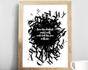 """Victor Hugo quote Art, """"Even the darkest night will..."""", quote inspirational quote, Motivational Art, Print, Gift Idea."""