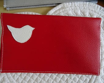 red faux leather checkbook