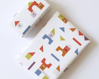 Geschenkpapier Kinder - Geburtstag - 4 Bögen à DIN A2 - Bauklötze - Fine Fine Stuff