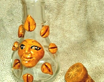 Sunshine Vessel, Sculted clay-on-glass sun, Used to be tobacco water pipe, Now strictly a sunshine vessel - OOAK collectible