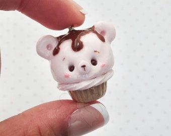 Kawaii Strawberry Chocolate Ice Cream Bear  Cupcake / Kawaii Bear Cupcake Charm / Kawaii Charms / Kawaii Clay Charms / Kawaii Cupcake Charm