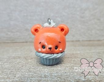 Kawaii Pumpkin Pie Bear Cupcake Charm / Thanksgiving Charms / Pumpkin Pie Charms / Kawaii Charms / Kawaii Clay Charms / Kawaii Cupcake Charm